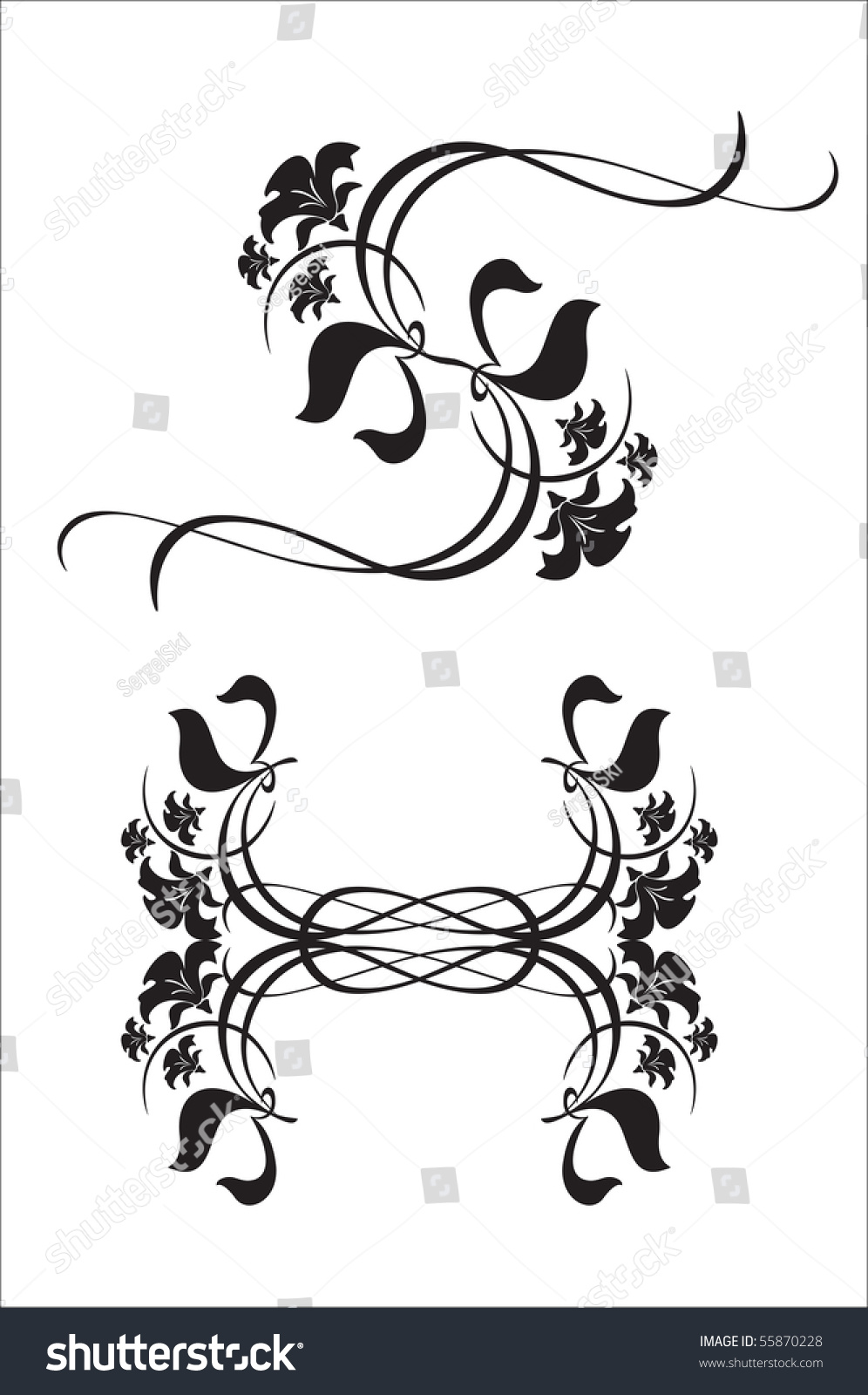 Floral Letter S H Decorative Elements Stock Vector Royalty Free