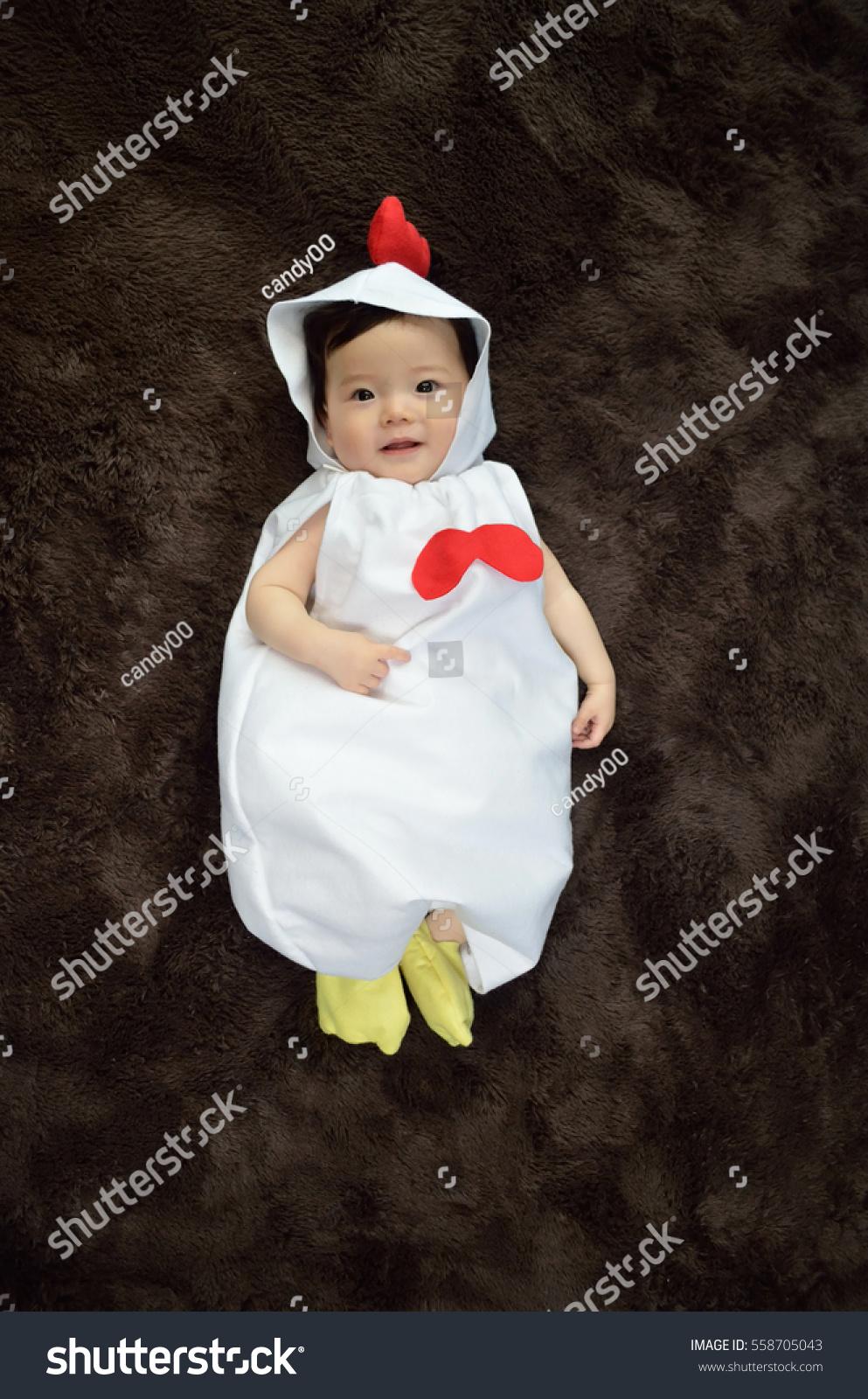 5b421cb0ca53 Chicken Costume Baby   Halloween Chicken Baby With Basket Of Eggs Sc ...