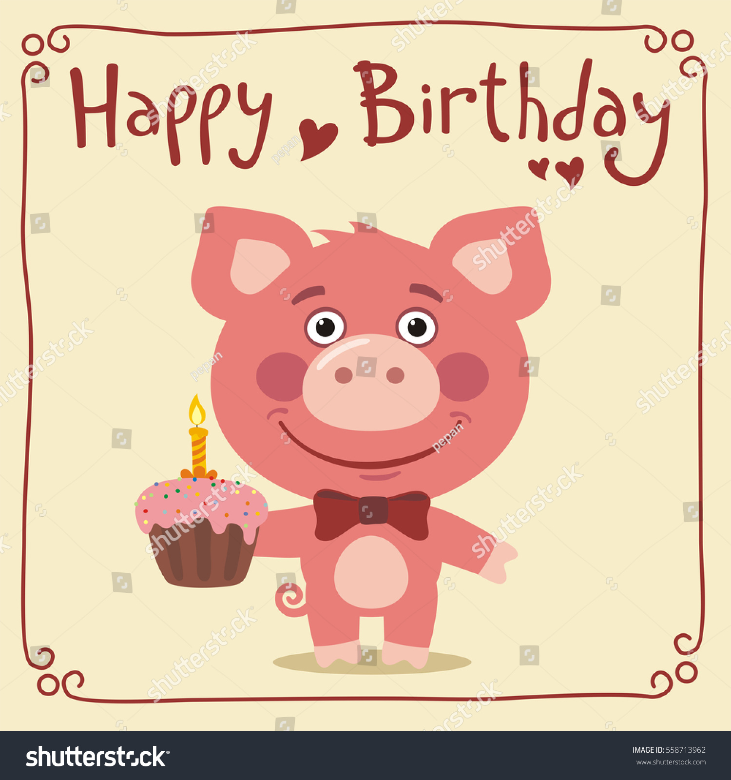 happy birthday funny pig birthday cake stock vector 558713962