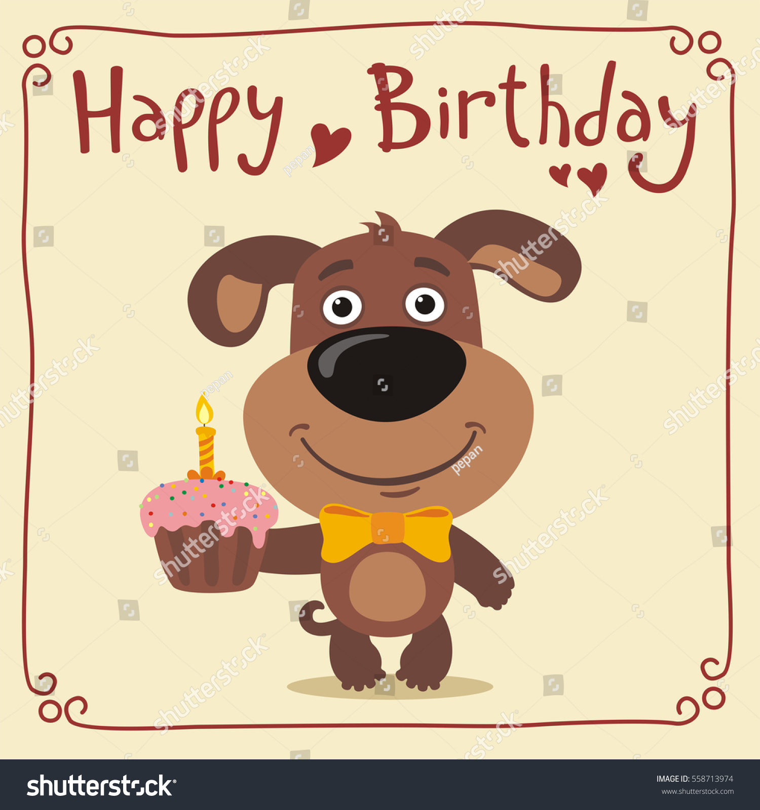 Happy Birthday Funny Puppy Dog Cake Stock Vector Royalty Free