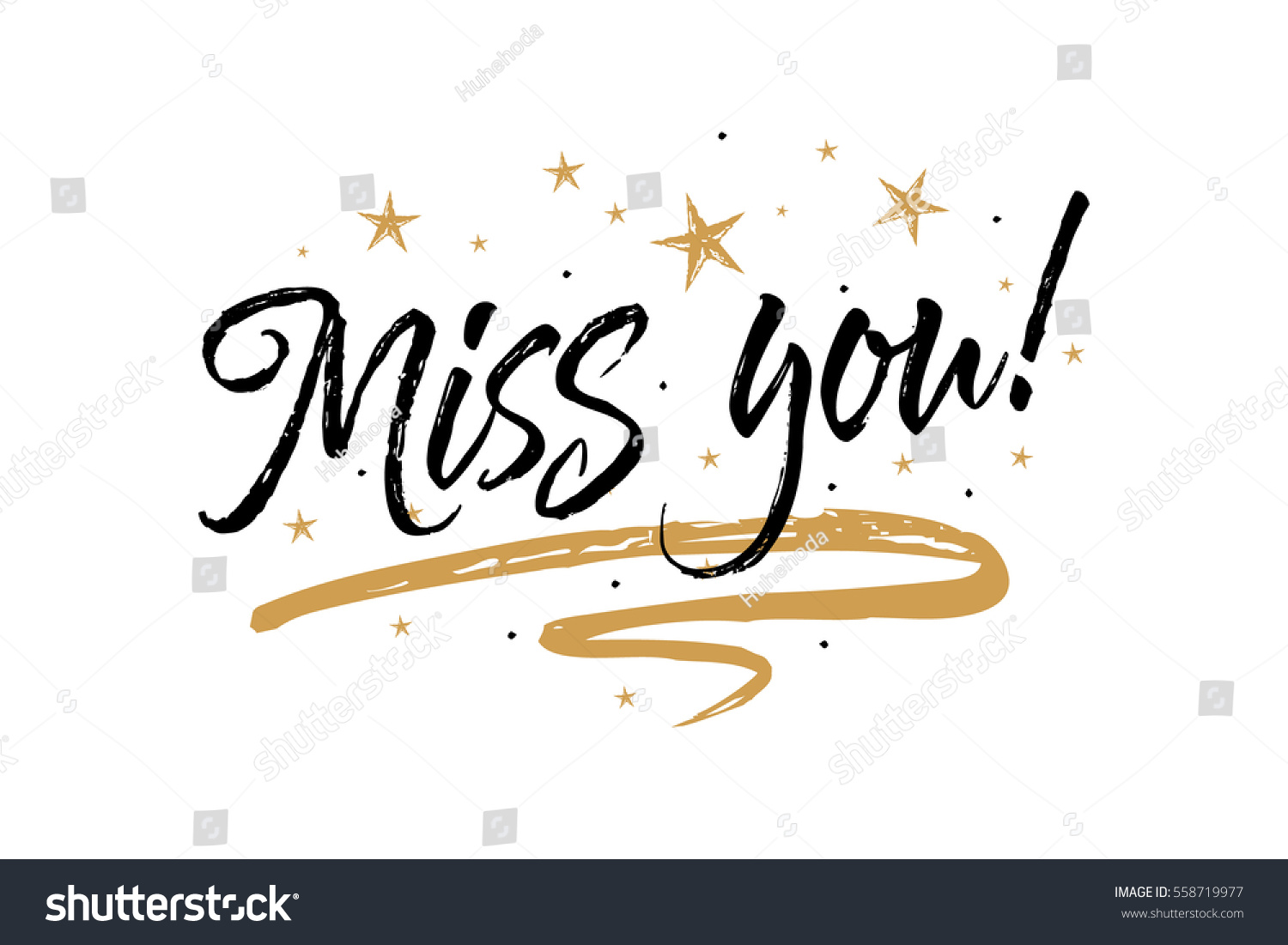 Miss you beautiful greeting card scratched stock vector 558719977 miss you beautiful greeting card scratched calligraphy black text word gold starshand drawn kristyandbryce Image collections