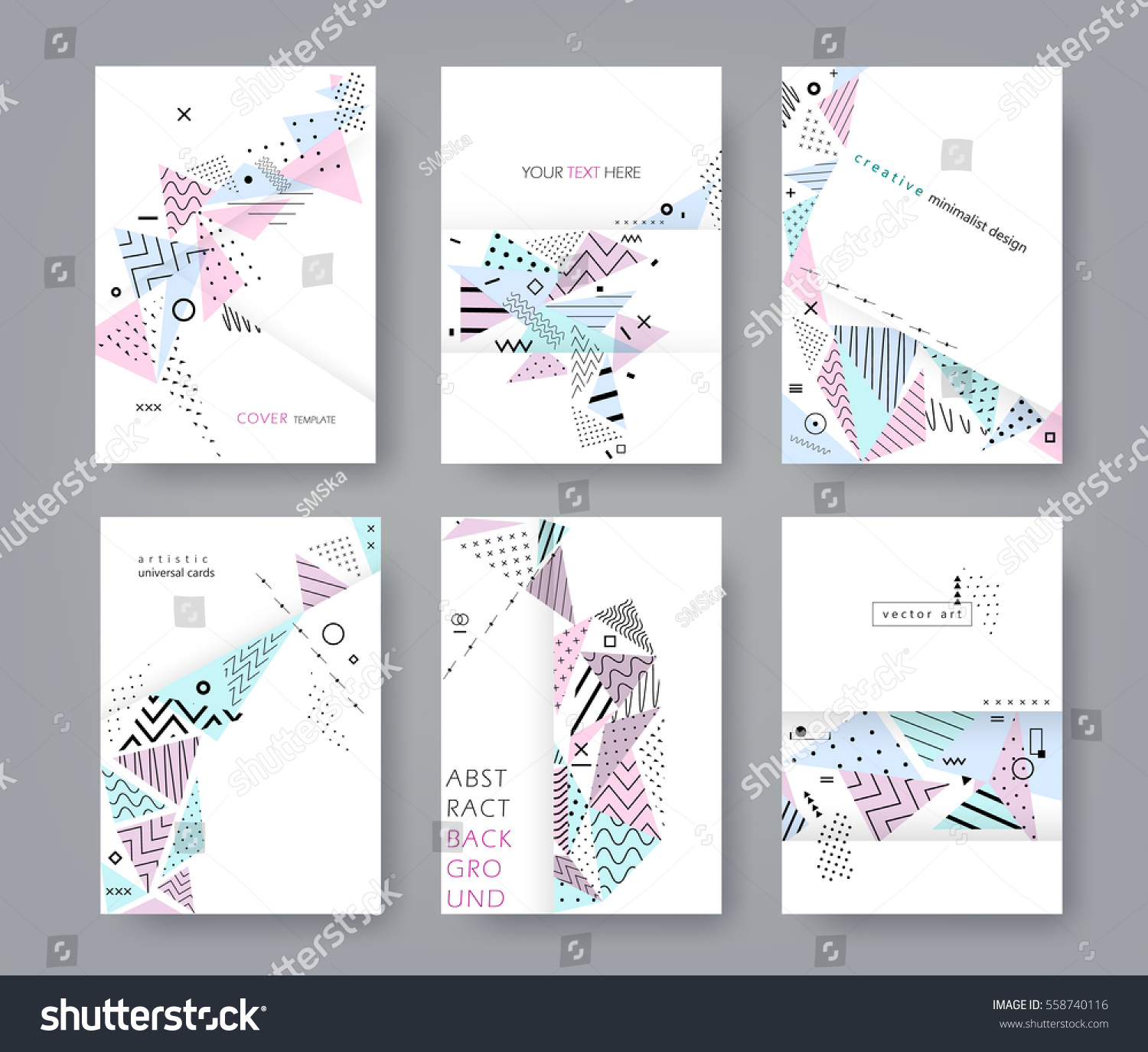 Minimalist Book Cover Template : Set artistic universal cards flat creative stock vector