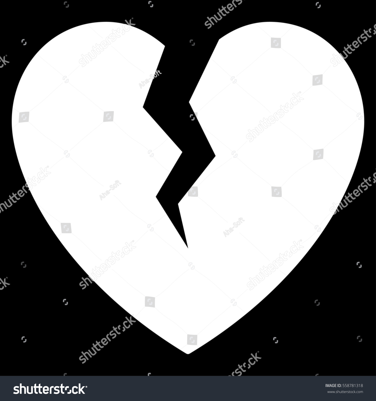 Broken heart glyph icon flat white stock illustration 558781318 broken heart glyph icon flat white symbol pictogram is isolated on a black background biocorpaavc Images