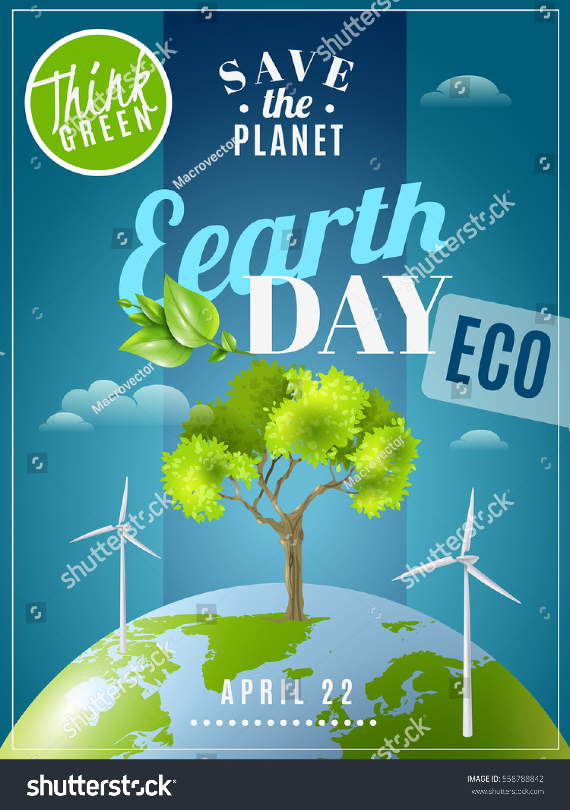 save planet earth day announcement environmental stock vector