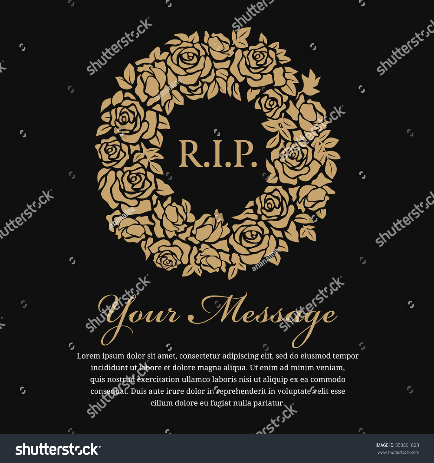 Funeral card rip text circle gold stock vector 558801823 funeral card rip text in circle gold wreath rose vector design jeuxipadfo Gallery