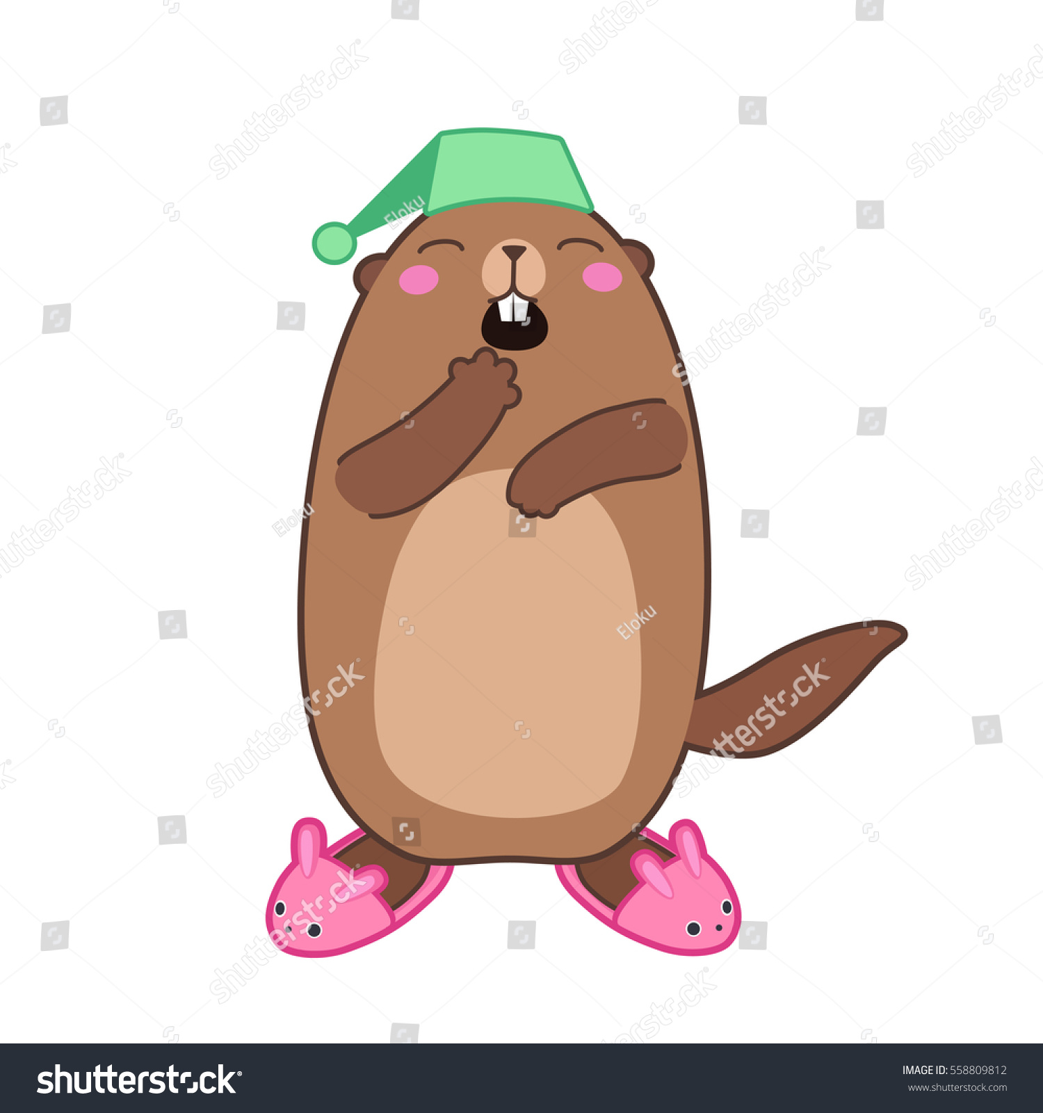 vector illustration groundhog bunny slippers cartoon stock vector