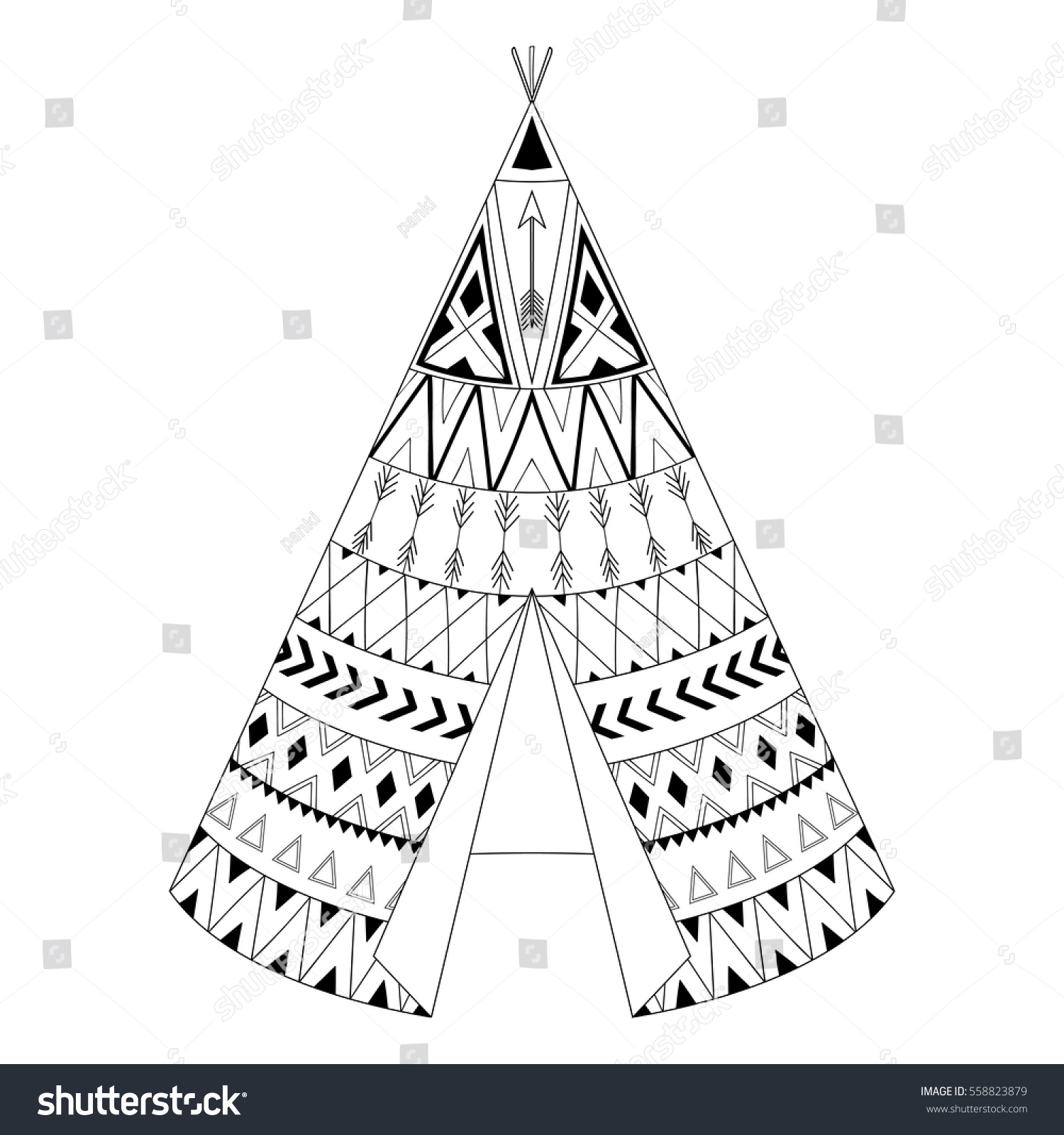 indian teepee coloring pages - hand drawn american native wigwam ethnic stock vector