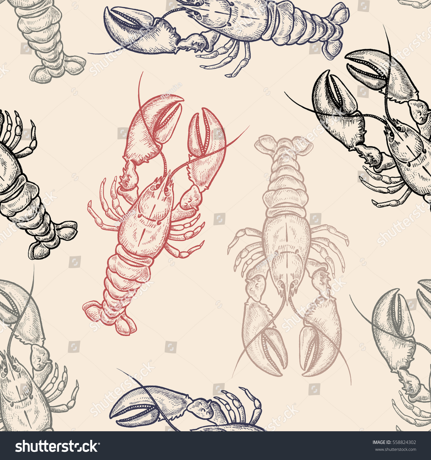 Seamless Vector Pattern With Animals Under Water Colored Lobsters On Pastel Background Vintage Engraving