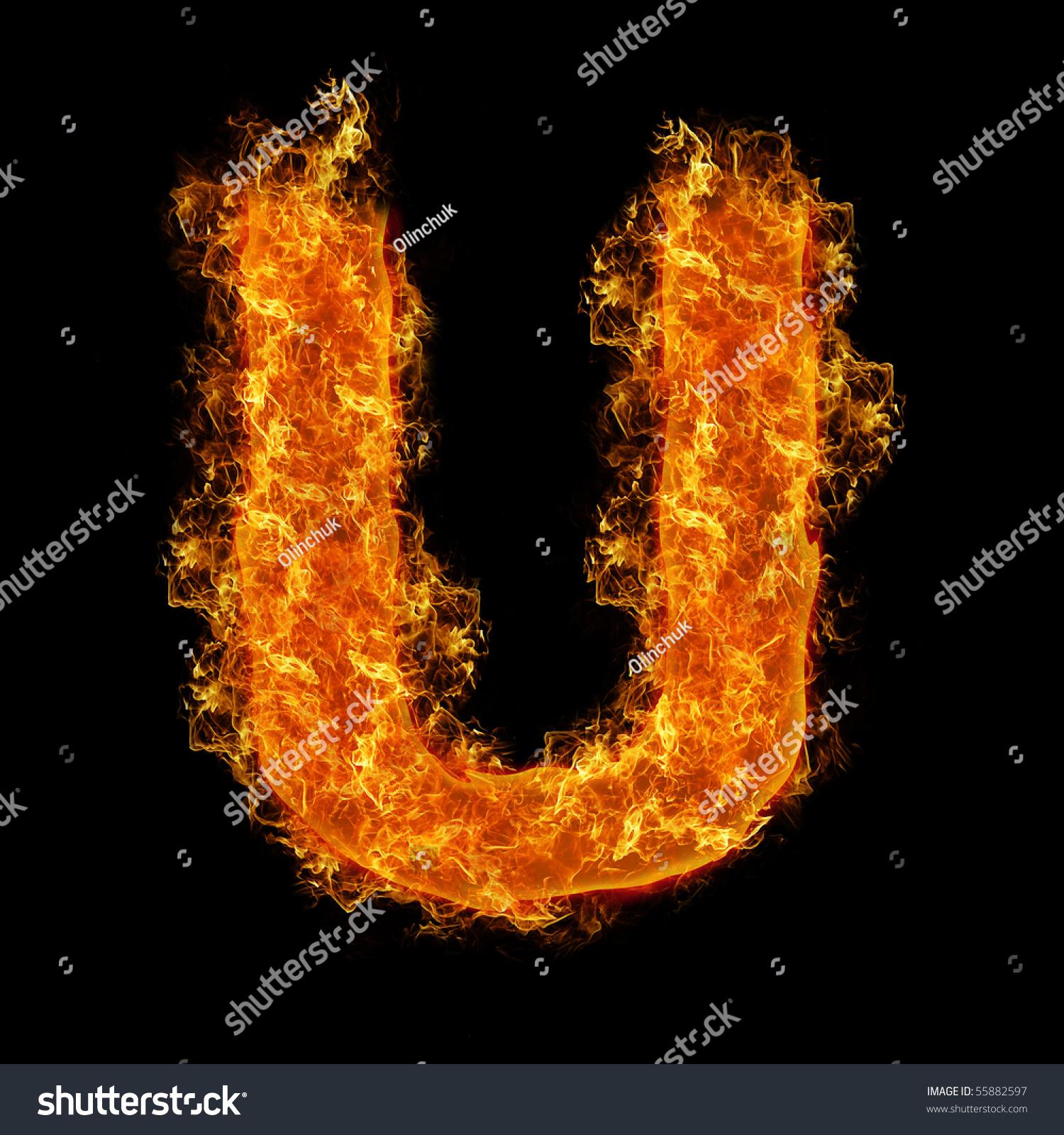 Fire Letter U On Black Background Stock Illustration ...