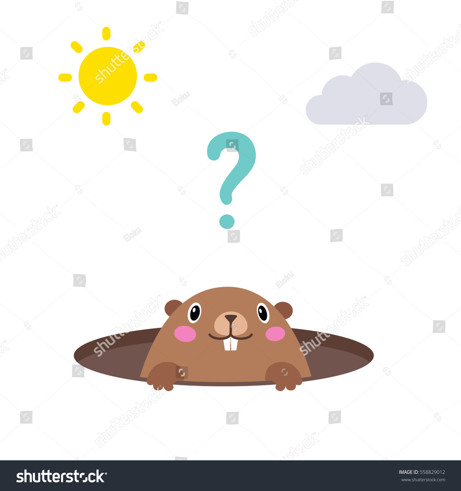 vector illustration groundhog looking out his stock vector