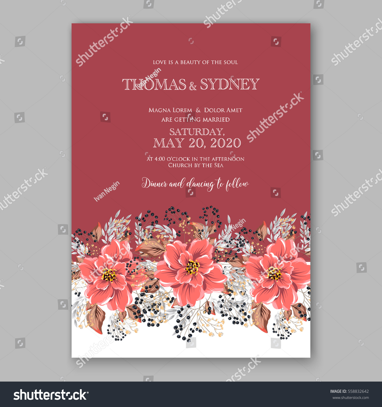 Wedding Invitation Floral Bridal Wreath Pink Stock Vector 558832642 ...