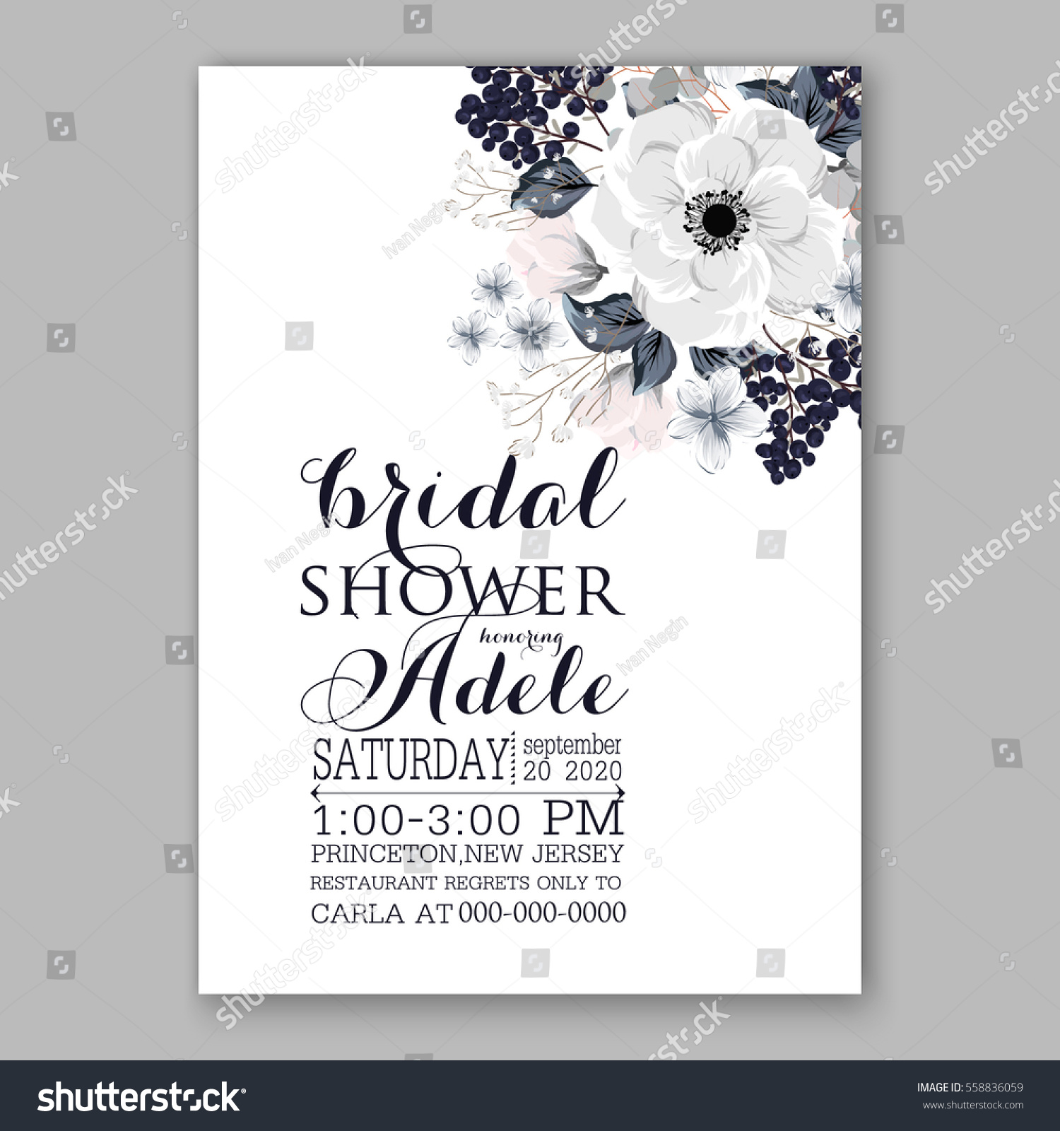 Wedding Invitations With Anemone Flowers Bridal Shower Invitation Cards In Light Gray And Blue