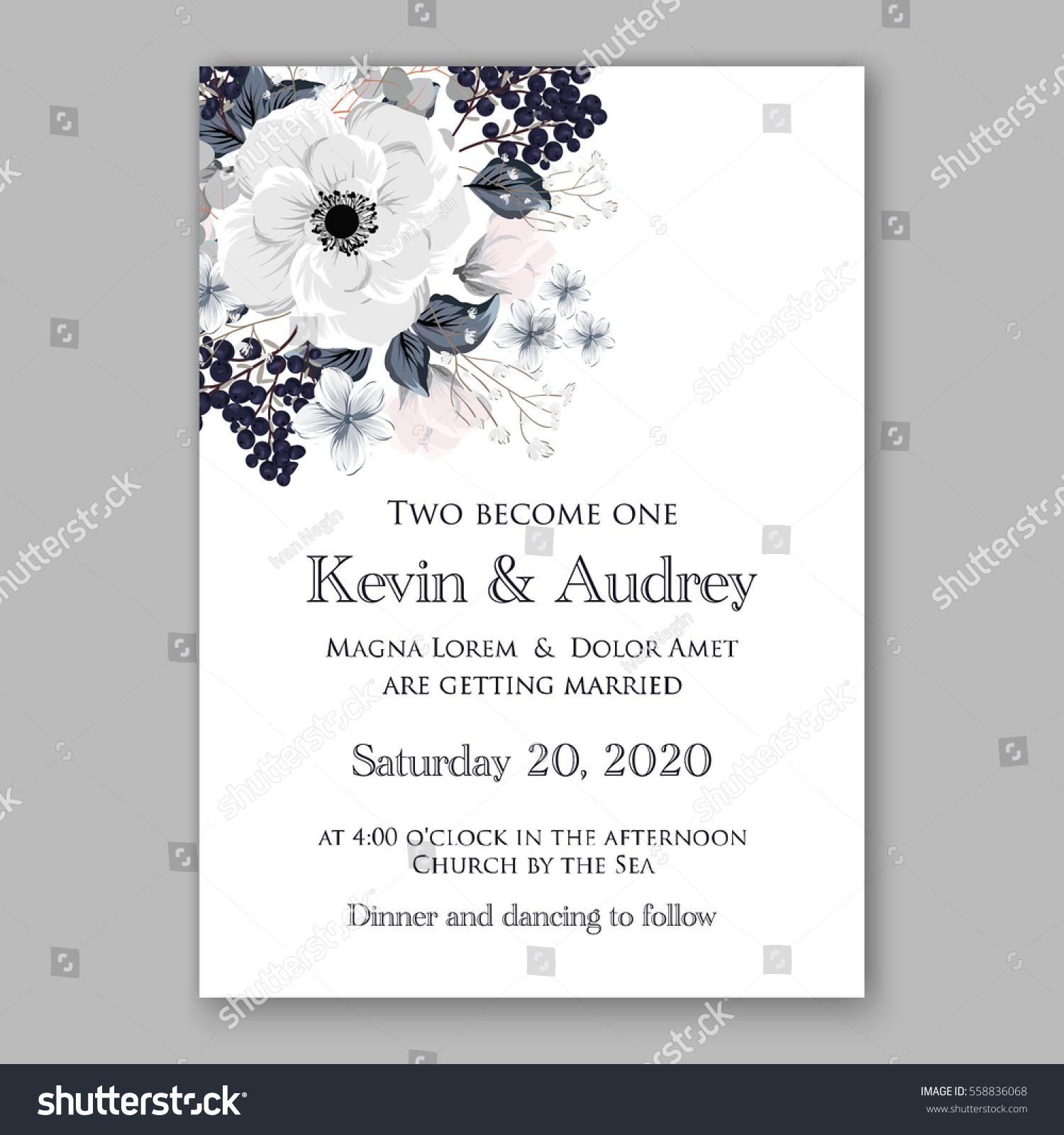Wedding Invitations Anemone Flowers Anemone Bridal Stock Vector ...