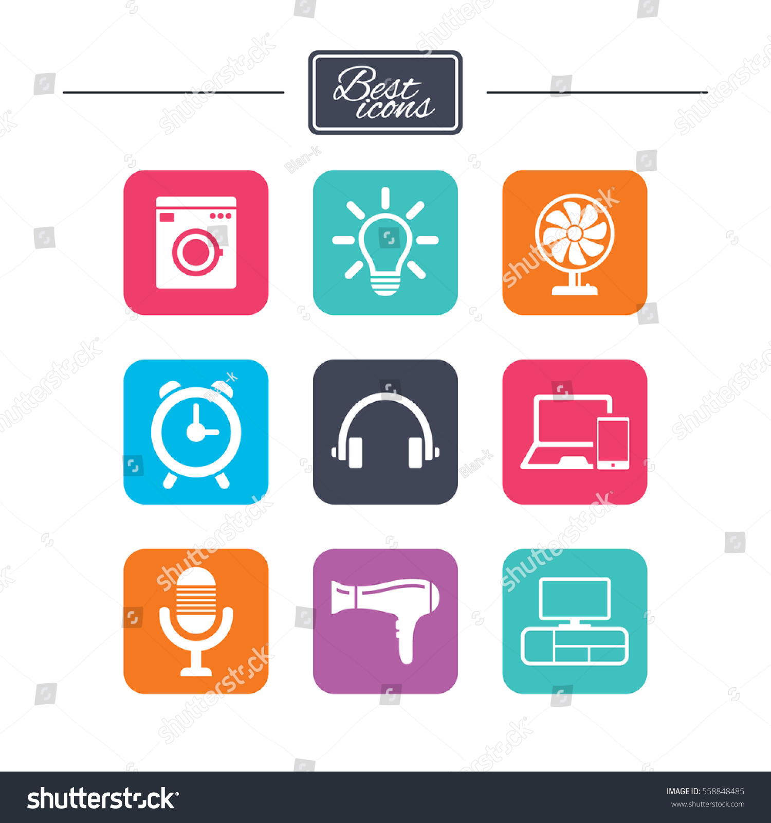 Home appliances device icons ventilator sign stock vector home appliances device icons ventilator sign hairdryer washing machine and lamp symbols biocorpaavc Image collections
