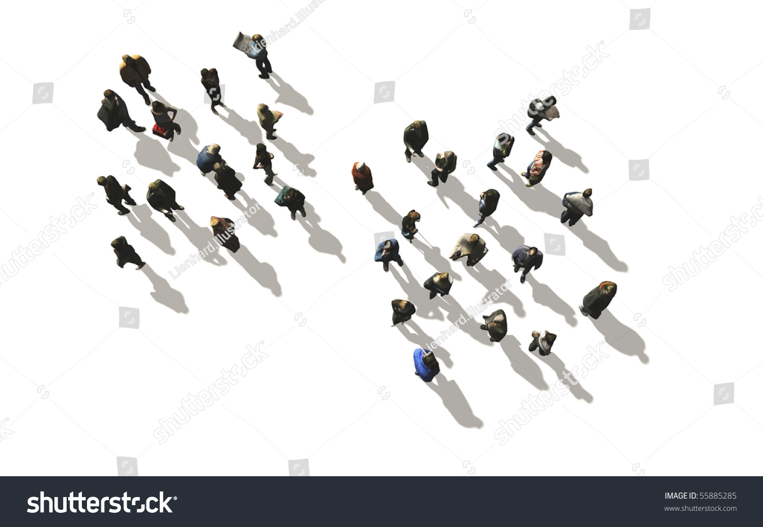 Stock Photo A Crowd Of People In Top View On White