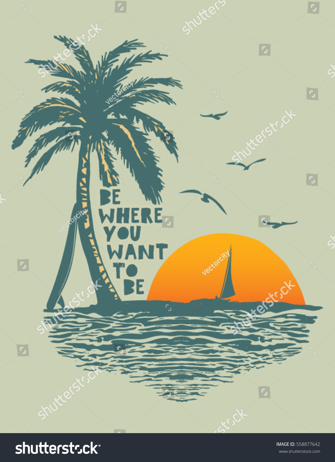 Sunset surf beach vintage beach print stock vector for Beach design