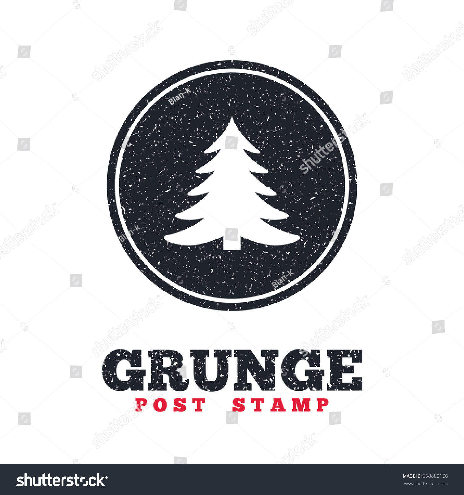 Grunge Post Stamp Circle Banner Label Stock Vector (Royalty Free ...