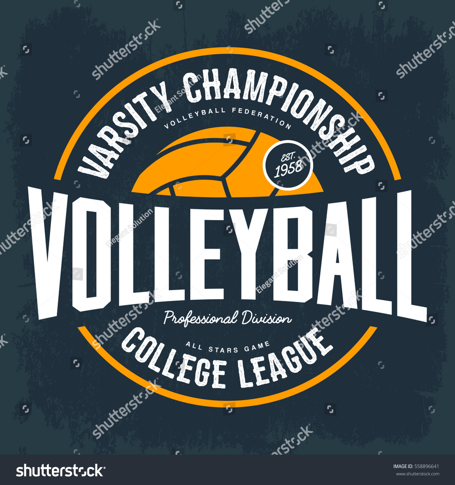 volleyball ball logo college tournament tshirt stock vector