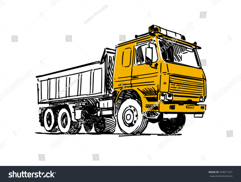 dump truck sketch illustration isolated on stock vector 558911221