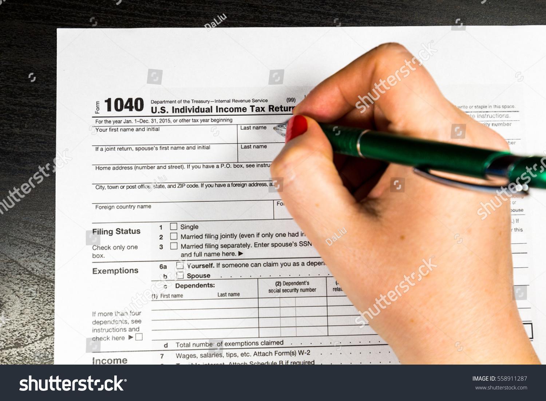 Woman Filling Us Tax Form Tax Stock Photo  Shutterstock - Us zip code no tax