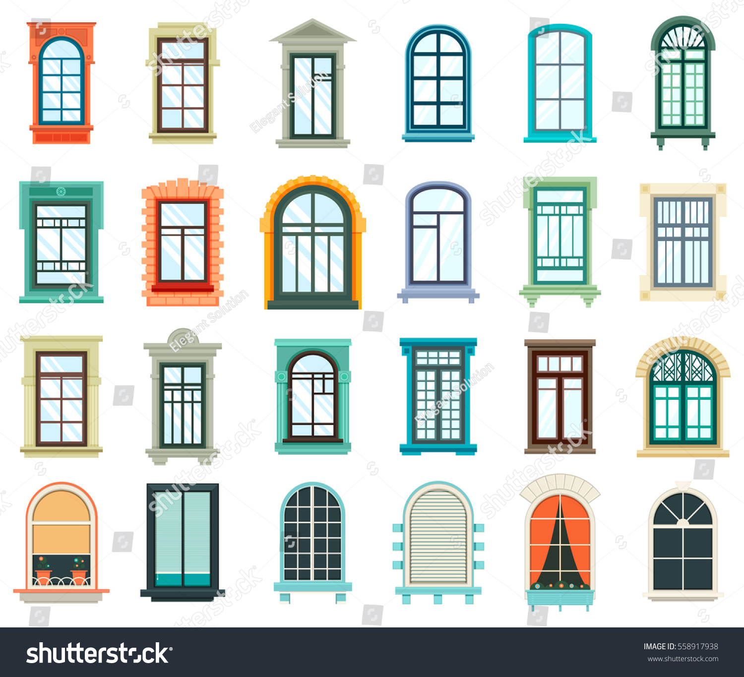 Retro wood wooden window frames view stock vector for Window frame designs house design