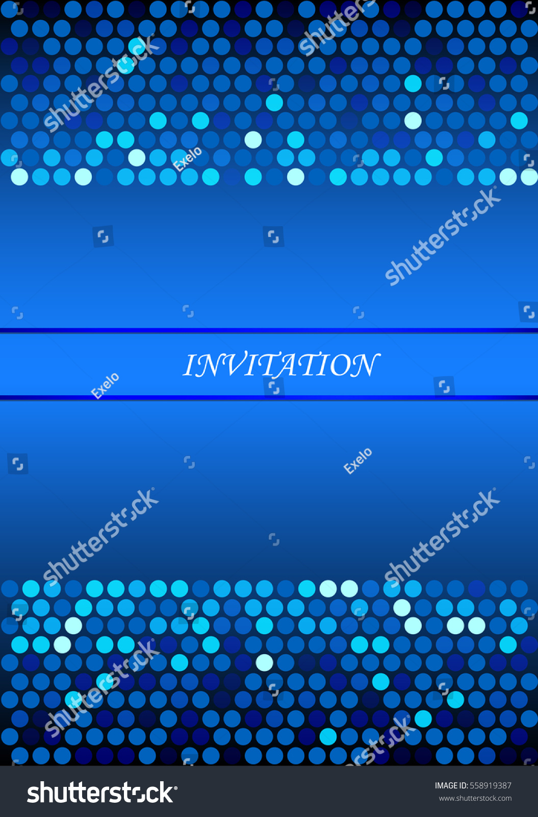 blue invitation card background cool doted stock vector royalty