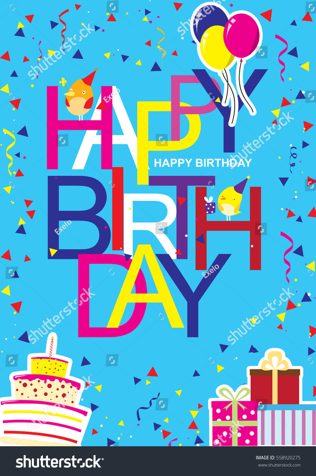Creative modern birthday greeting card cool stock vector 558920275 creative modern birthday greeting card with cool and artistic font style and happy birthday wish with kristyandbryce Images