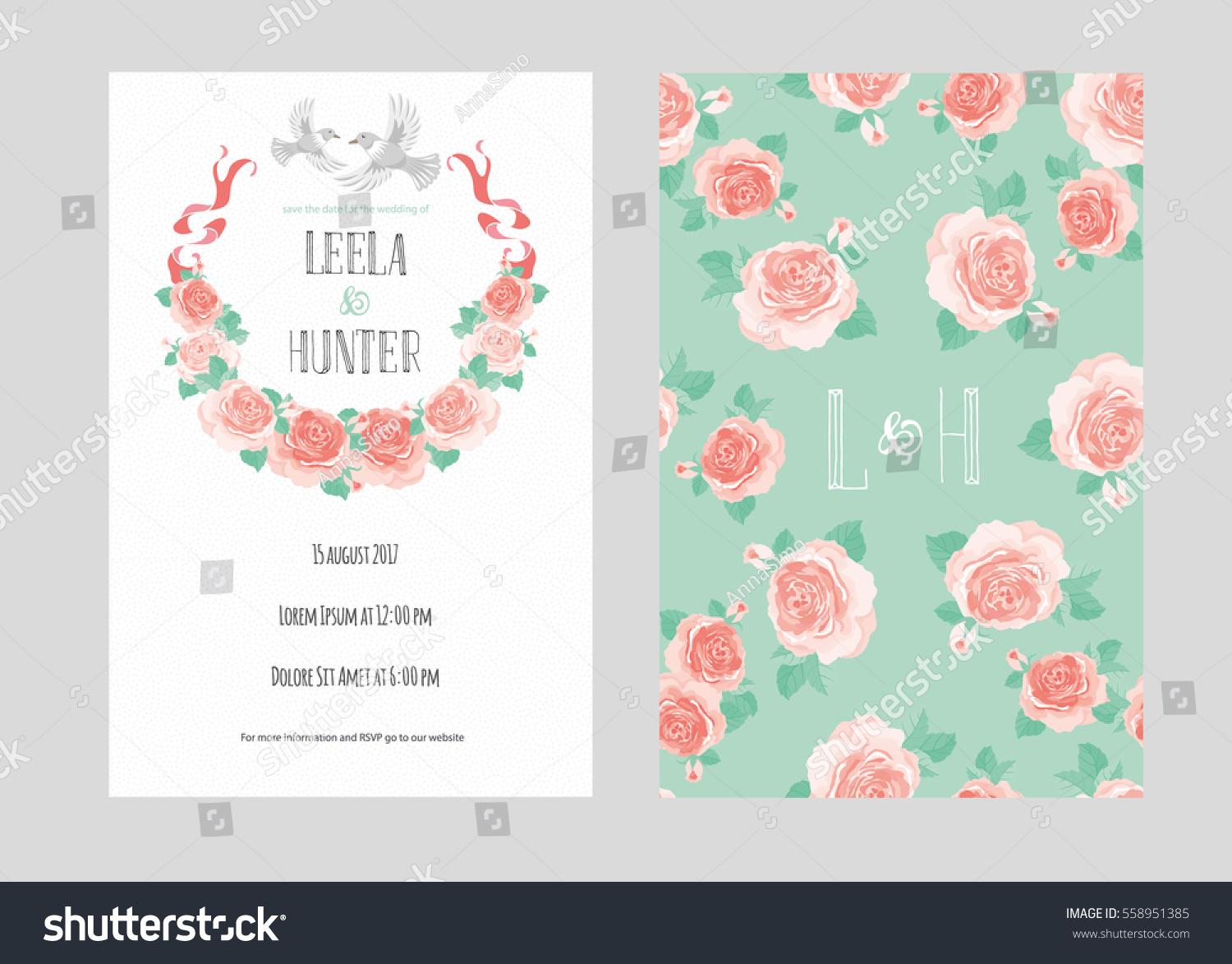 Template Wedding Invitation Card Doves Blooming Stock Photo (Photo ...