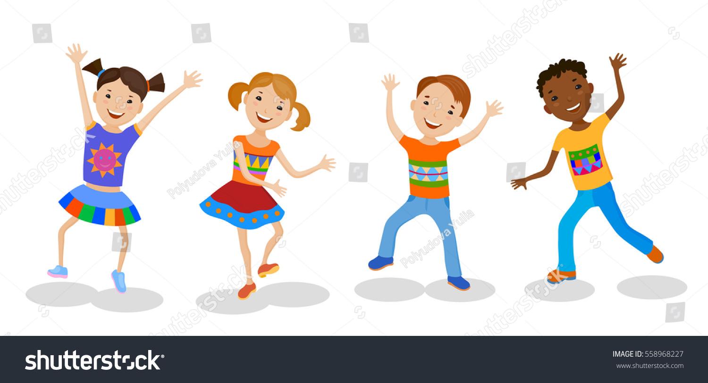dancing set little cartoon fun kids stock vector 558968227