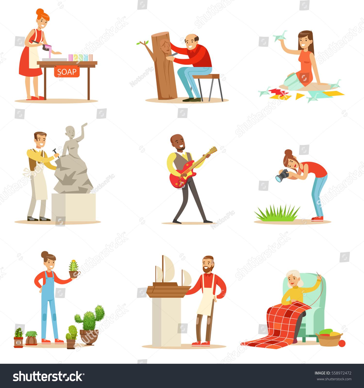 Adult People Their Creative Artistic Hobbies Stock Vector