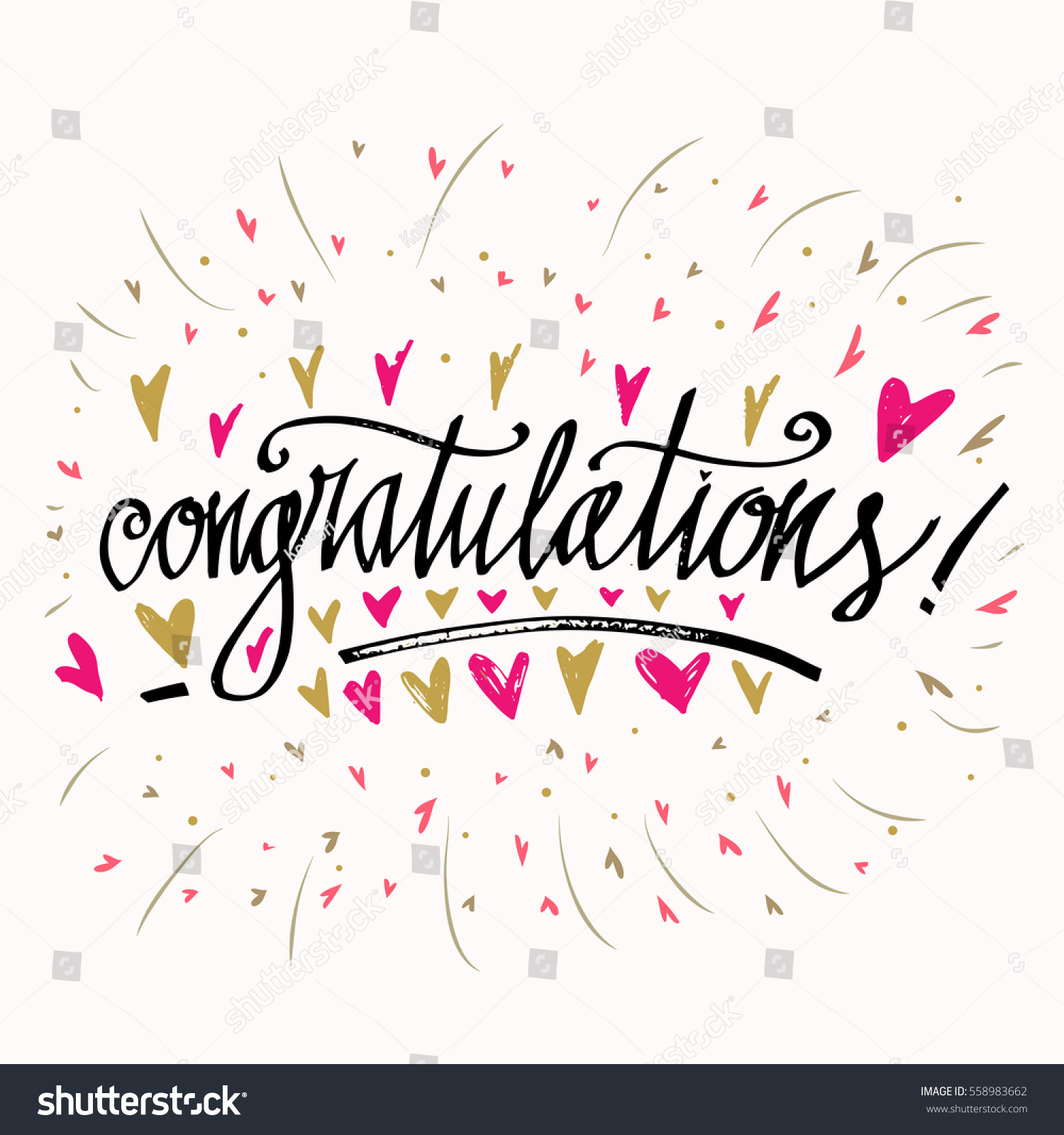 Congratulations Calligraphy Card Heart Background Hand