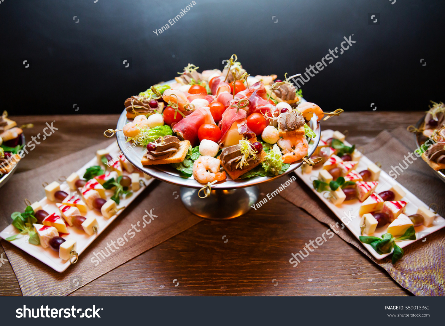 canapes snacks shrimps bacon on dinner stock photo 559013362