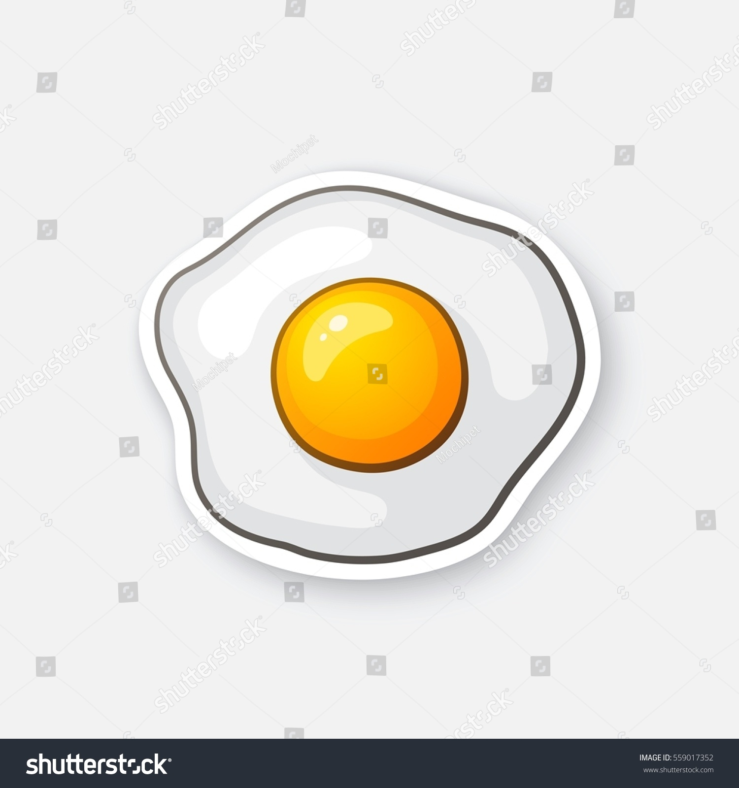 vector illustration one fried egg scrambled stock vector 559017352