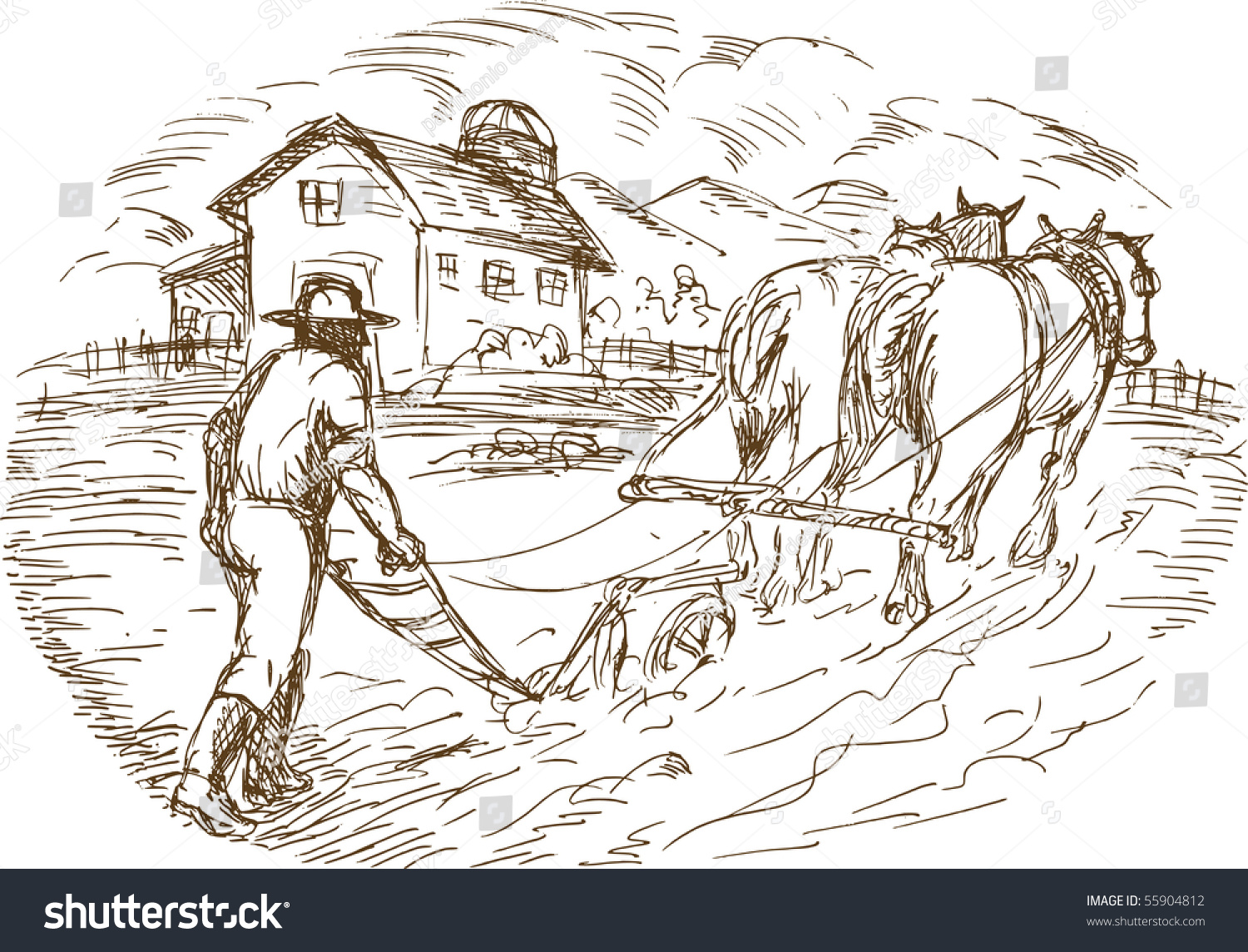 Hand Drawn Sketched Vector Illustration Farmer