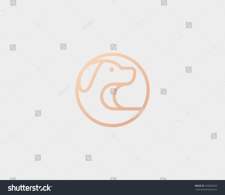 Line Art Logo Design : Puppy line art logo design template stock vector