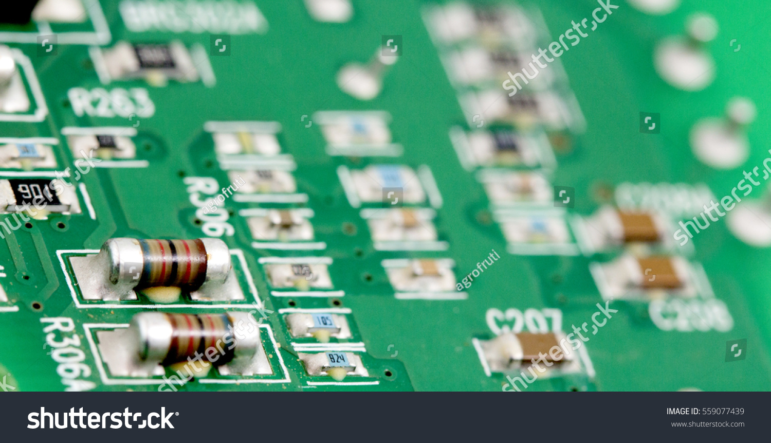 Macro Electronic Printed Circuit Board Many Stock Photo Edit Now With Electrical Components Of An Componentsshallow Dof
