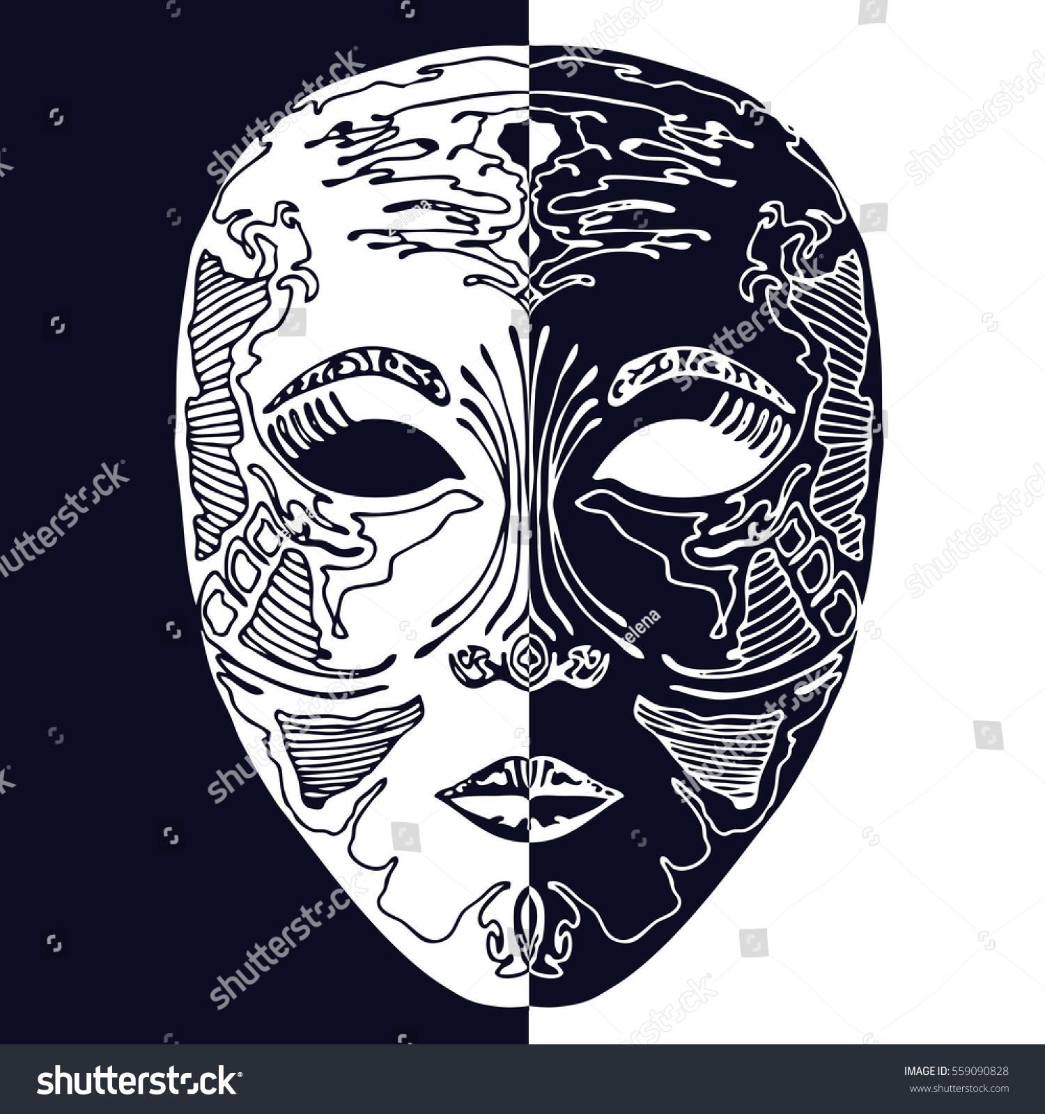 Image Vectorielle De Stock De Double Face Mask Illustration 559090828