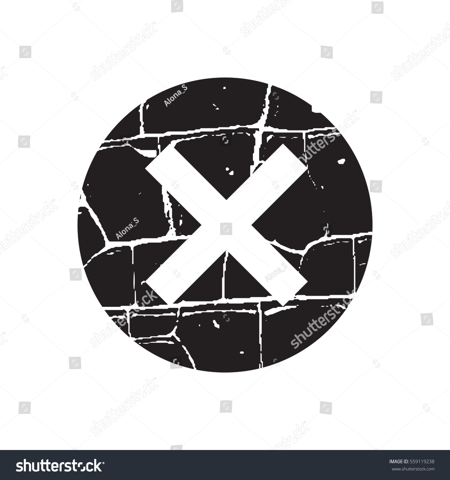 Cross Sign Black Element Gray Grunge Stock Vector Royalty Free