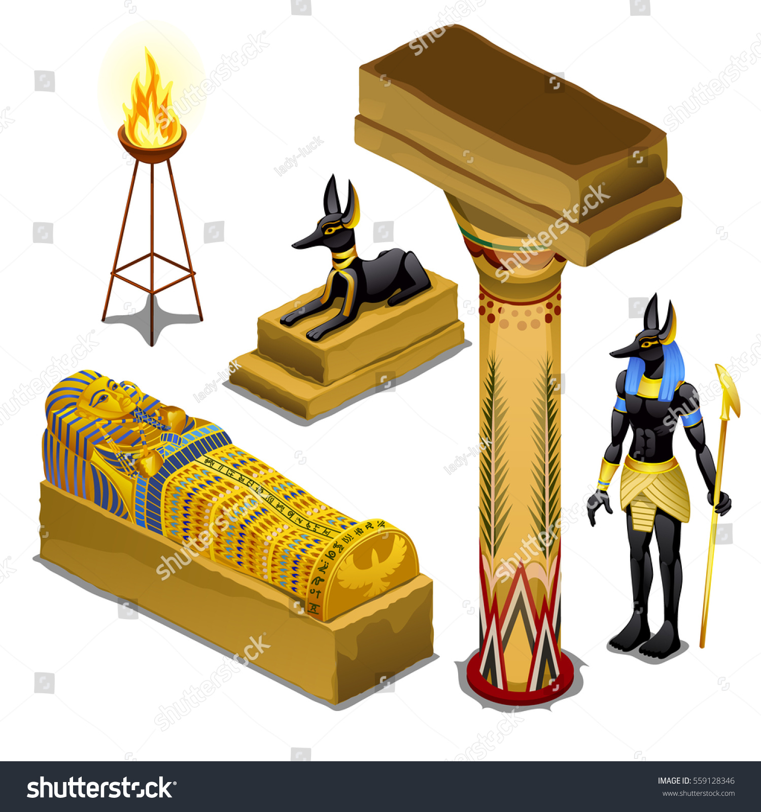Set Attributes Symbols Theme Ancient Egypt Stock Photo Photo