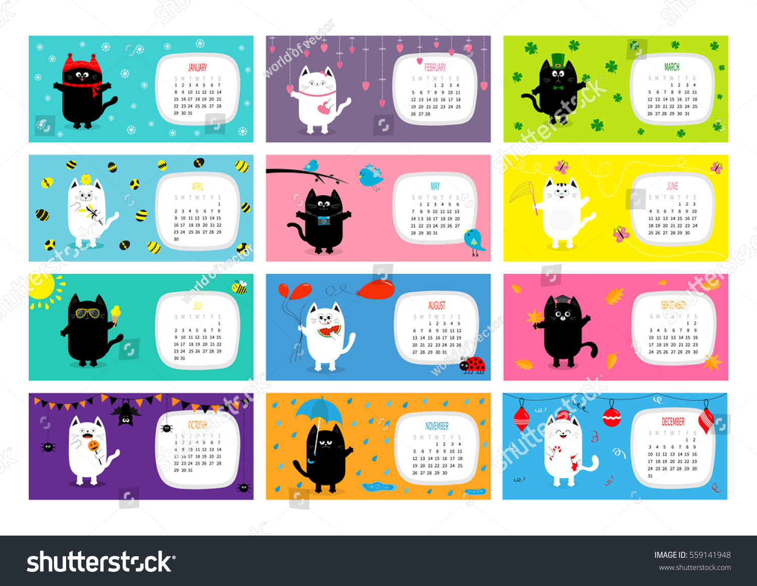 Character Design Monthly : Cat horizontal monthly calendar cute stock