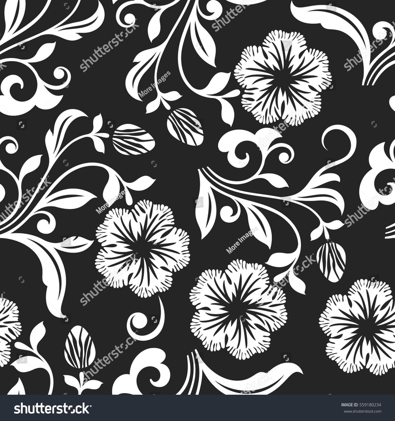 Seamless Black White Flower Vector Background Stock Vector Royalty