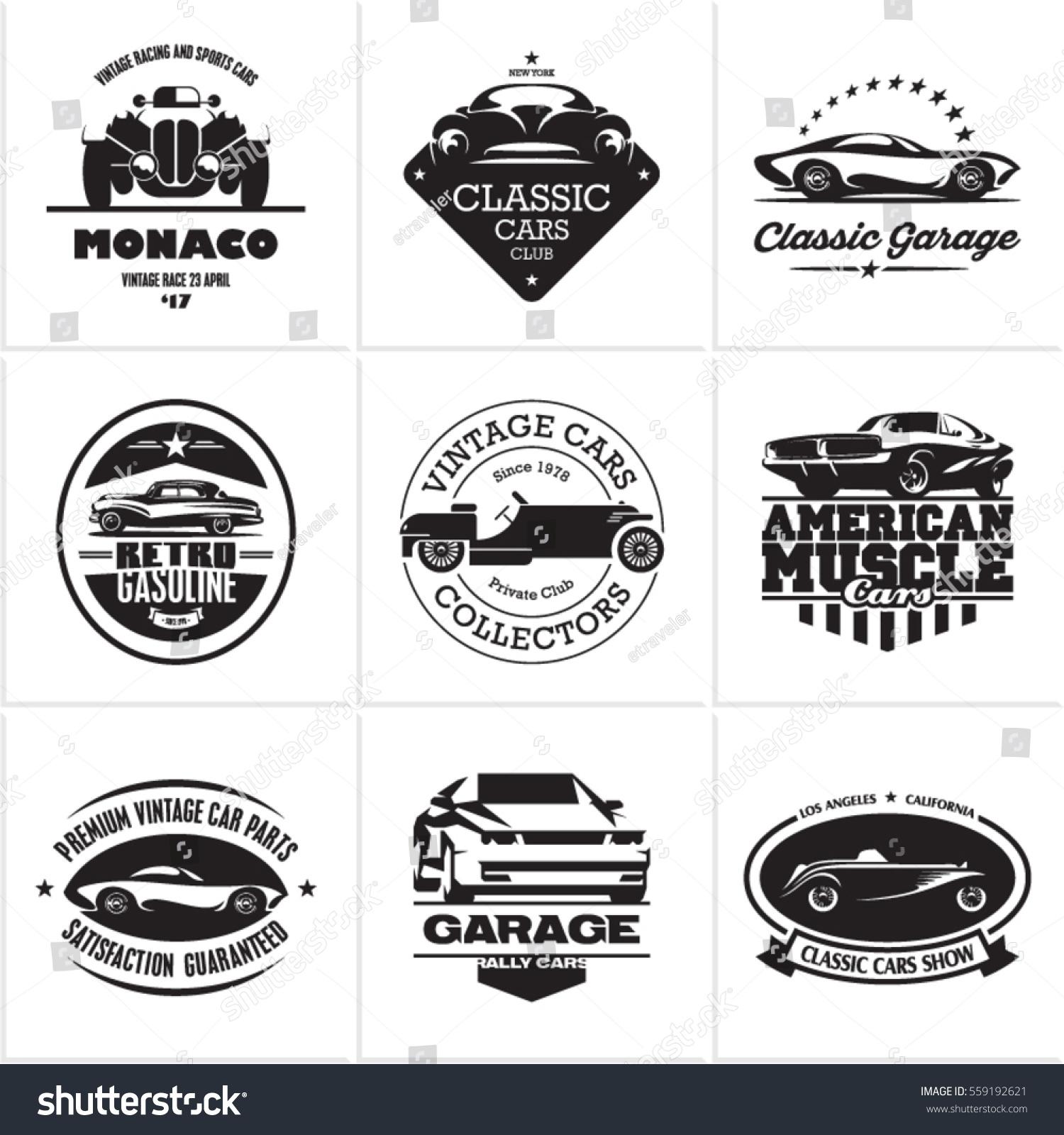 Car Logos Retro Style Vevtor Labels Stock Vector 559192621 ...