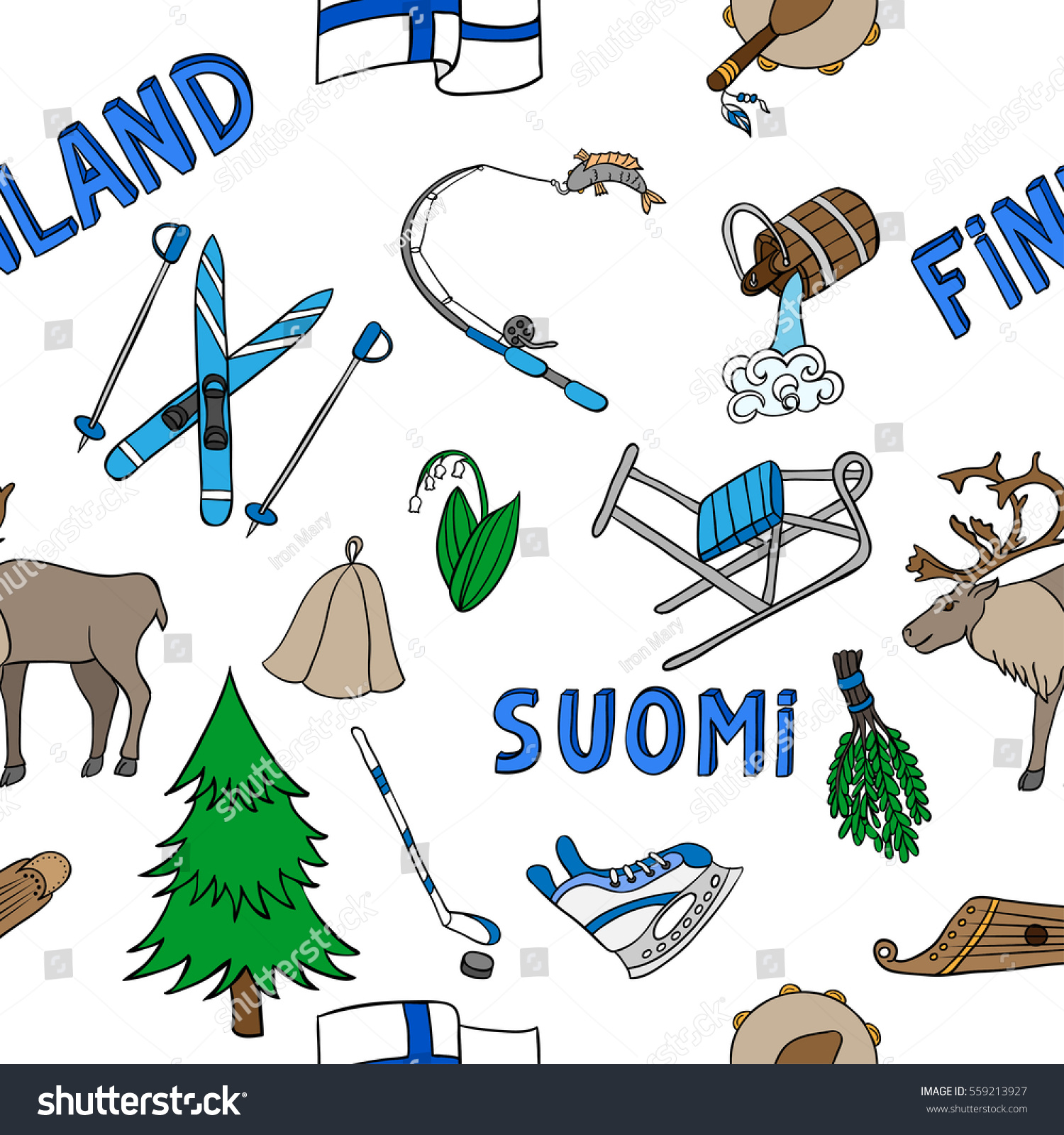 Vector Seamless Pattern Symbols Finland Handdrawn Stock Vector