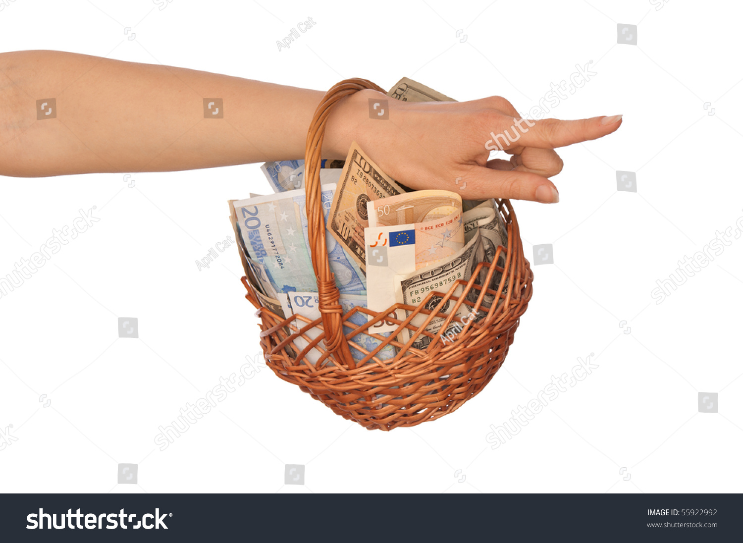Businesswoman Owns The Dual Currency Basket With Euro And Dollars For Stable Bussiness