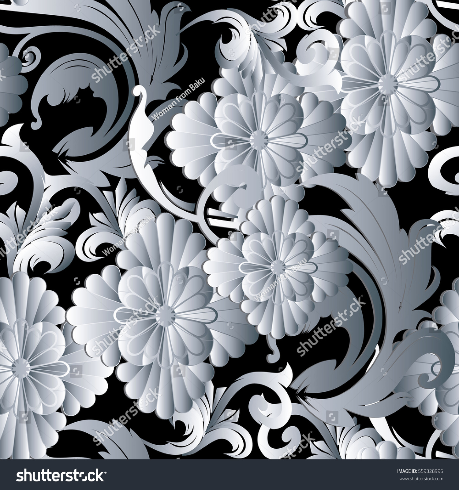 Flowers Seamless Pattern Floral Black Background Wallpaper Stock