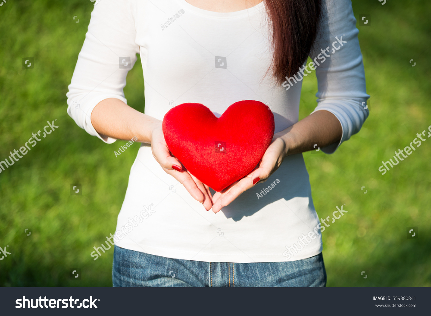 Beautiful Hands Asian Woman Holding Red Stock Photo 559380841 ...