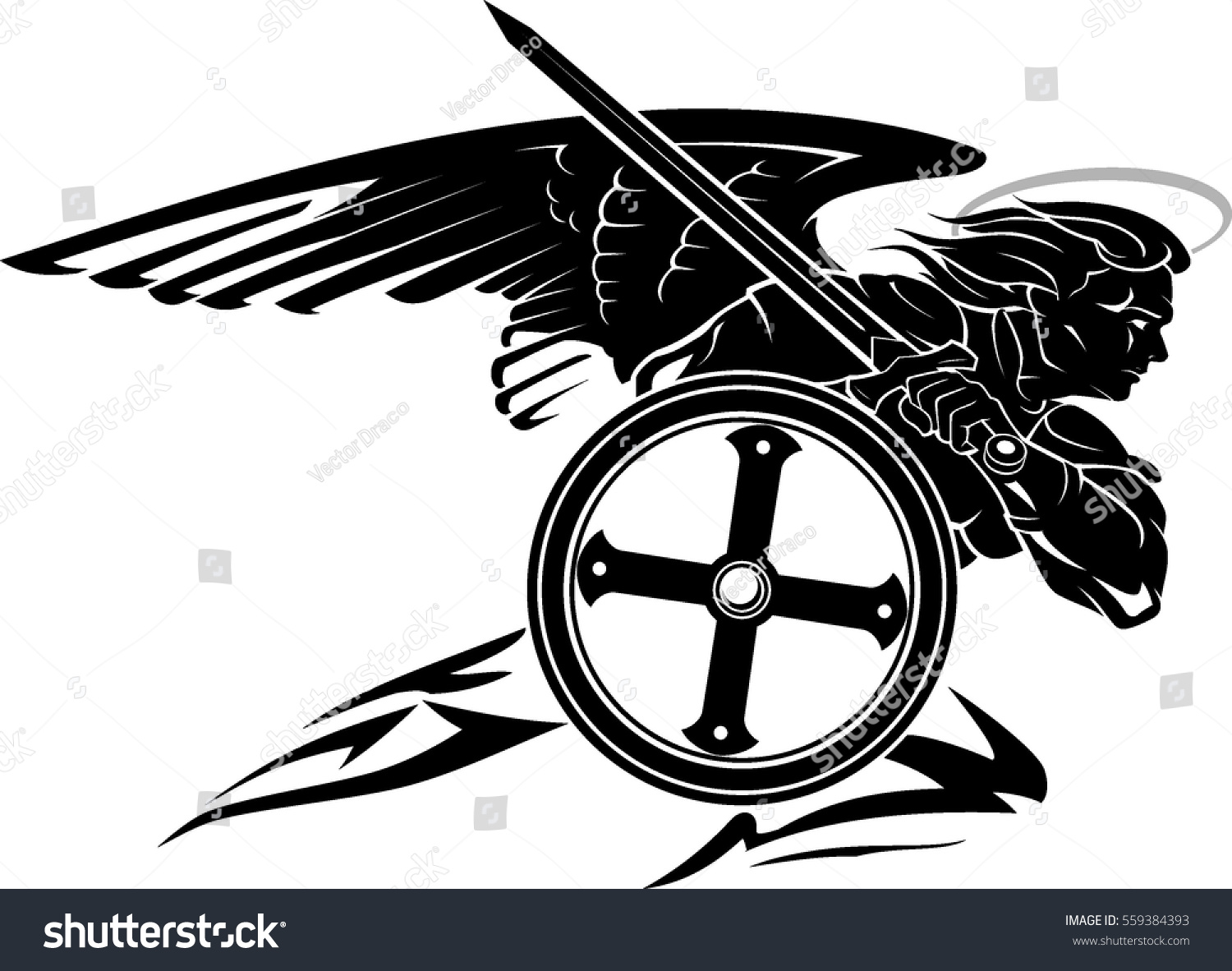 St michael archangel charging pose round stock vector 559384393 st michael archangel charging pose with round shield biocorpaavc Images