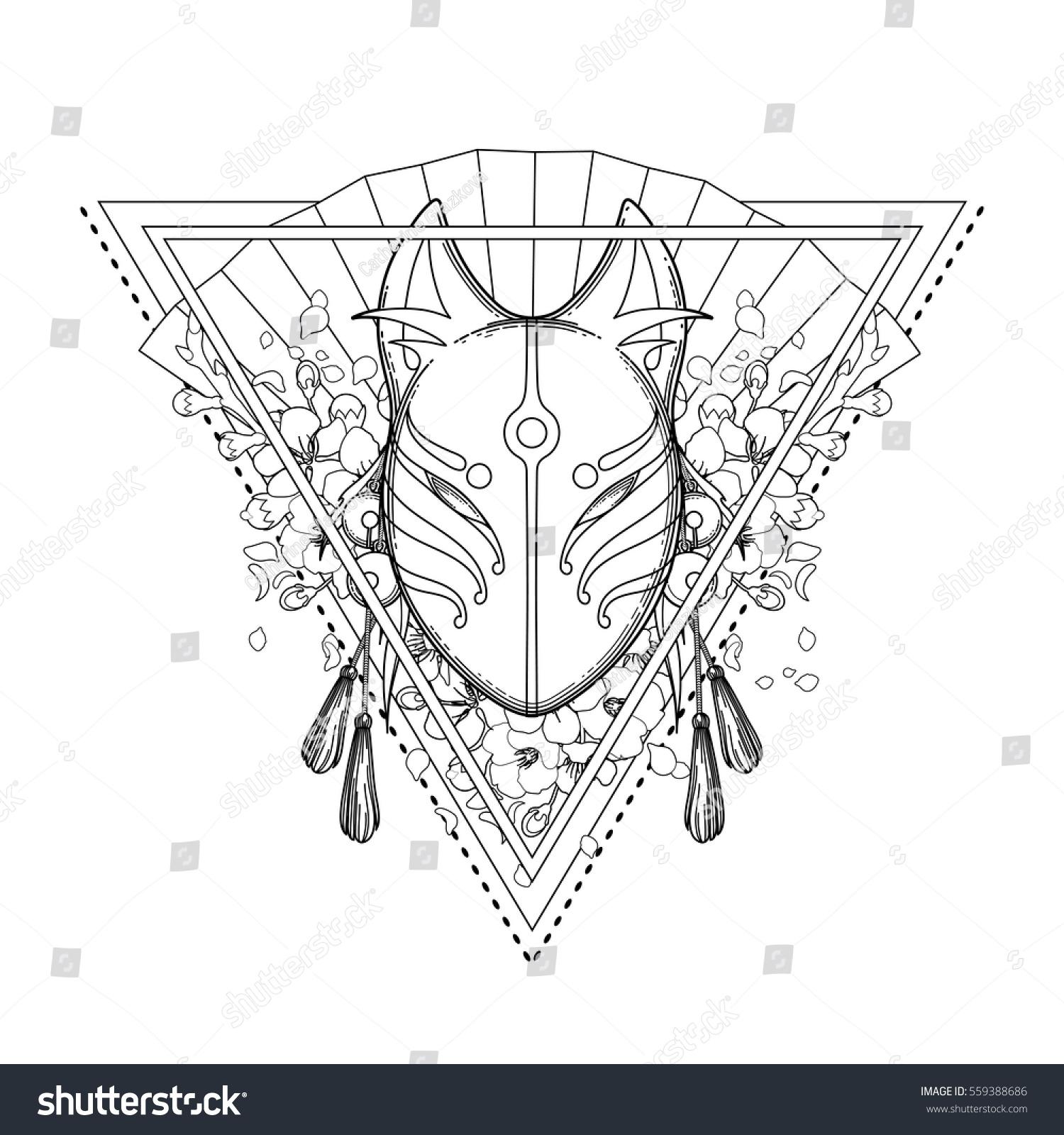 Graphic Mask Japanese Demon Kitsune Isolated Stock Vector Hd