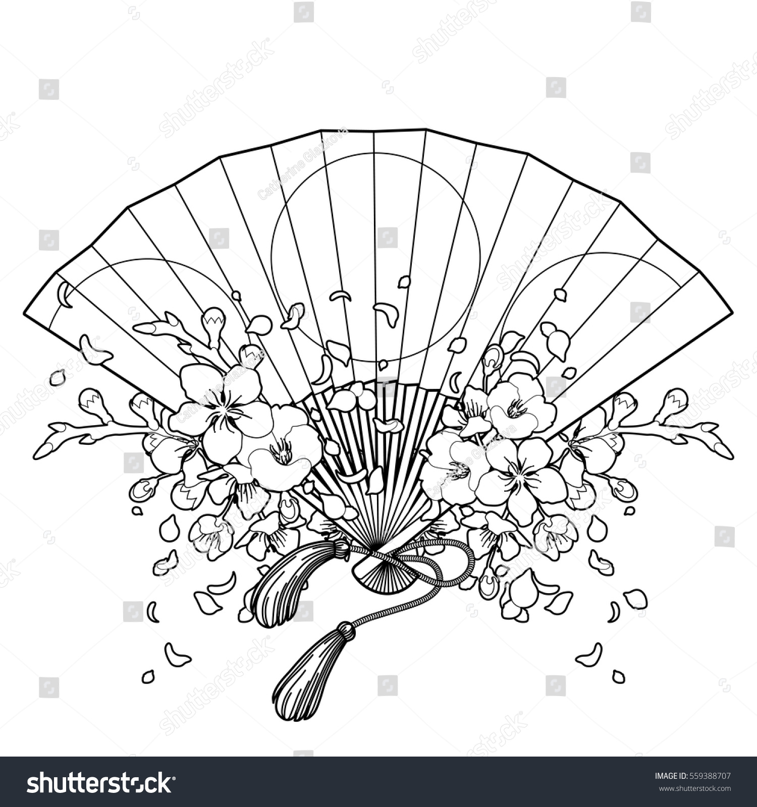 Hand Fan With Traditional Japanese Design And Sakura Decorations Vector Illustration Isolated On
