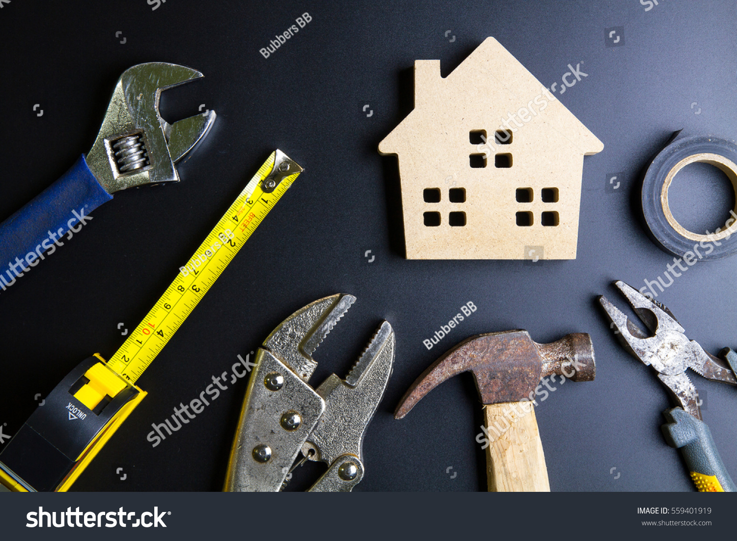 wooden house toy construction tools on stock photo 559401919
